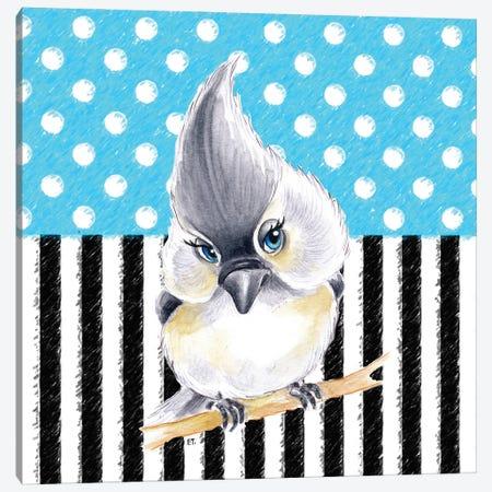Cute Birdie Blue Polka Dot Stripes Canvas Print #SSI21} by Seven Sirens Studios Art Print