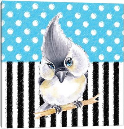 Cute Birdie Blue Polka Dot Stripes Canvas Art Print