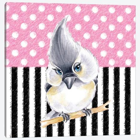 Cute Birdie Pink Polka Dot Stripes Canvas Print #SSI22} by Seven Sirens Studios Art Print