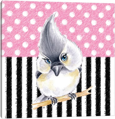 Cute Birdie Pink Polka Dot Stripes Canvas Art Print