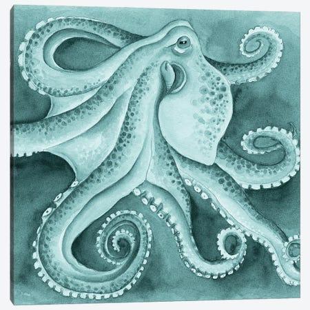 Green Cyan Octopus Tentacles Dance Watercolor Canvas Print #SSI23} by Seven Sirens Studios Art Print