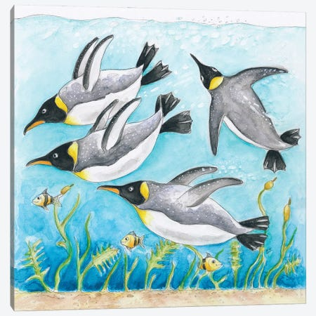 Emperor's Penguins Swimming Watercolor Canvas Print #SSI27} by Seven Sirens Studios Canvas Wall Art