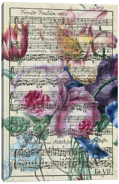 Floral Songs Music Chic Canvas Art Print
