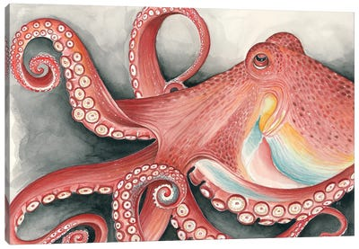 Giant Red Pacific Octopus Watercolor Art Canvas Art Print