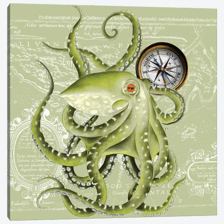 Green Octopus Tentacles Compass Vintage Map Canvas Print #SSI33} by Seven Sirens Studios Canvas Art