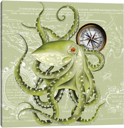 Green Octopus Tentacles Compass Vintage Map Canvas Art Print