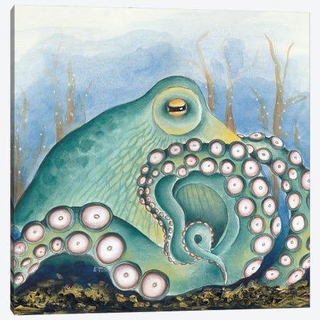 Green Octopus Treasure Watercolor Art Canvas Print #SSI34} by Seven Sirens Studios Canvas Art Print