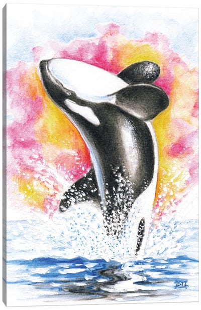 Breaching Orca Whale Rainbow Watercolor Canvas Art Print