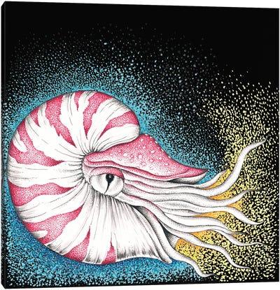 Nautilus On Black Ink Canvas Art Print