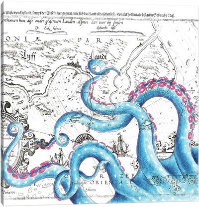 Blue Pink Tentacles Vintage Map Canvas Art Print