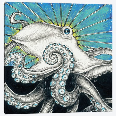 Octopus Blue Ink Canvas Print #SSI50} by Seven Sirens Studios Canvas Artwork