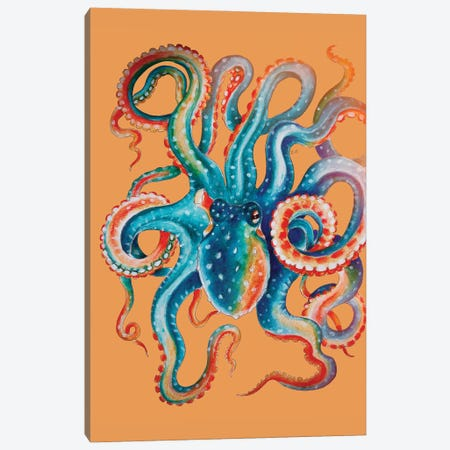 Octopus Teal On Orange Watercolor Art Canvas Print #SSI51} by Seven Sirens Studios Canvas Artwork