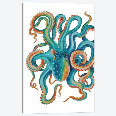 Octopus Teal Tentacles Watercolor Art Canvas Print #SSI52} by Seven Sirens Studios Canvas Artwork