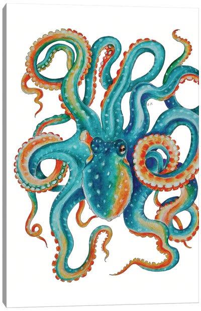 Octopus Teal Tentacles Watercolor Art Canvas Art Print
