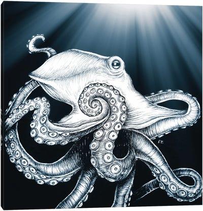 Octopus Tentacles Moon Rays Blue Canvas Art Print