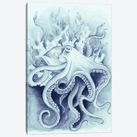 Octopus In The Kelp Blue Watercolor Canvas Print #SSI59} by Seven Sirens Studios Canvas Artwork