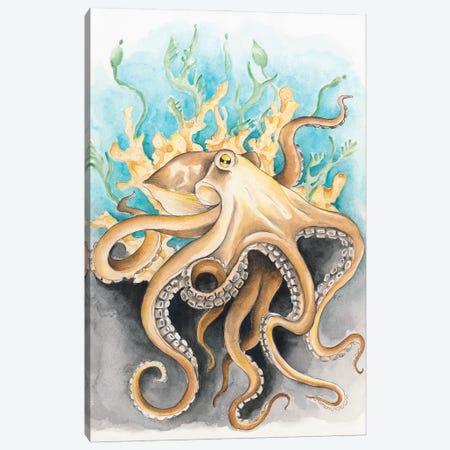 Octopus In The Kelp Teal Beige Watercolor Canvas Print #SSI60} by Seven Sirens Studios Art Print