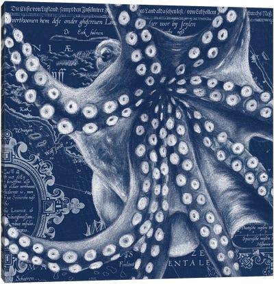 Blue Octopus Vintage Map Canvas Art Print