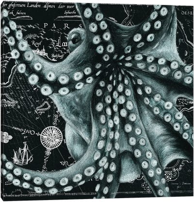 Cyan Green Octopus Vintage Map Canvas Art Print