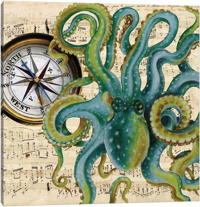 Green Octopus Compass Nautical Music Canvas Art Print