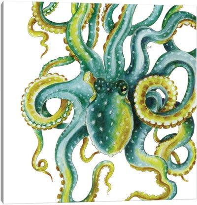 Green Octopus Tentacles Watercolor Art Canvas Art Print