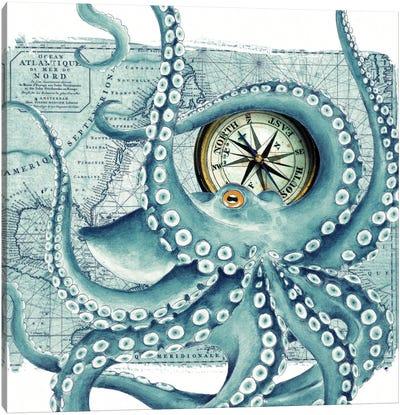 Octopus Teal Compass Nautical Canvas Art Print