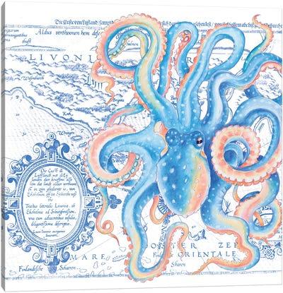Blue Octopus Vintage Map Nautical Canvas Art Print