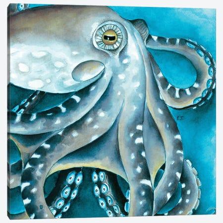 Blue Beige Octopus Tentacles Watercolor Canvas Print #SSI79} by Seven Sirens Studios Canvas Art