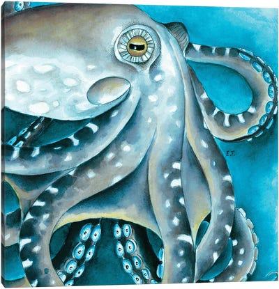 Blue Beige Octopus Tentacles Watercolor Canvas Art Print