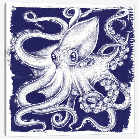 Octopus Blue White Ink Canvas Print #SSI80} by Seven Sirens Studios Canvas Art Print