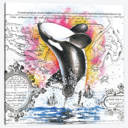 Orca Whale Breaching Vintage Map Rainbow Canvas Print #SSI87} by Seven Sirens Studios Canvas Wall Art