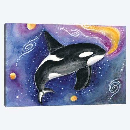 Orca Cosmic Galaxy Watercolor Canvas Print #SSI88} by Seven Sirens Studios Art Print