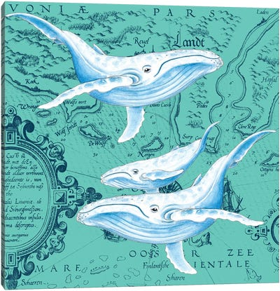 Blue Whales Family Teal Vintage Map Canvas Art Print