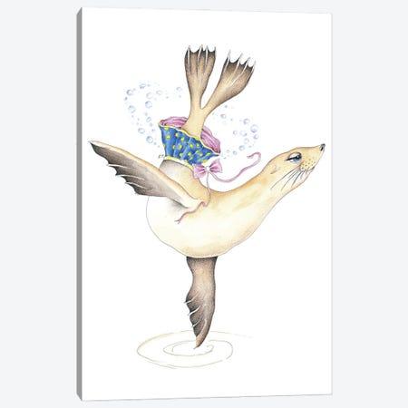 Dancing Sea Lion Bubbles Tutu Watercolor Canvas Print #SSI93} by Seven Sirens Studios Canvas Art