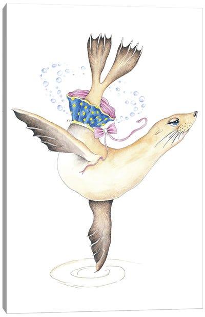 Dancing Sea Lion Bubbles Tutu Watercolor Canvas Art Print