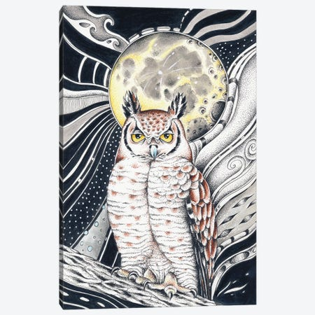 Owl And The Moon Ink Canvas Print #SSI96} by Seven Sirens Studios Canvas Art Print
