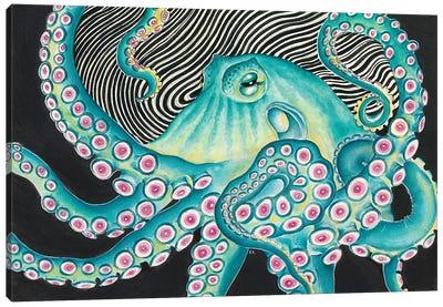 Funky Teal Green Octopus Kraken Black Ink Canvas Art Print