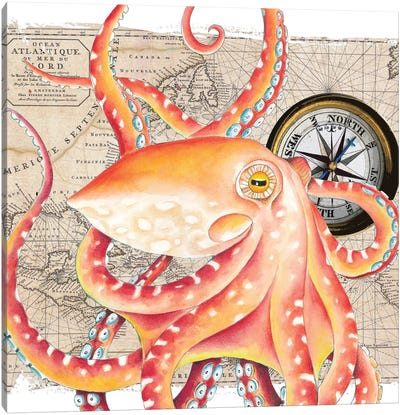 Red Octopus Vintage Map Compass Canvas Art Print
