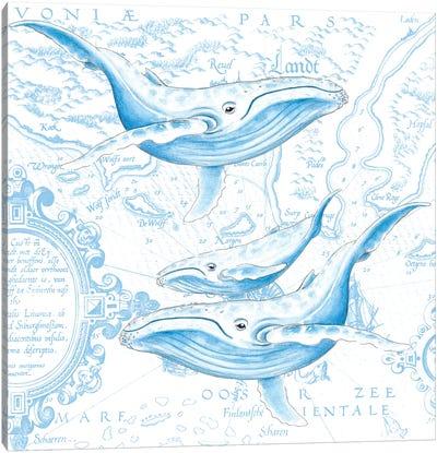 Blue Whales Family Vintage Map White Canvas Art Print