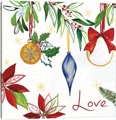 Watercolor Christmas II Canvas Art Print