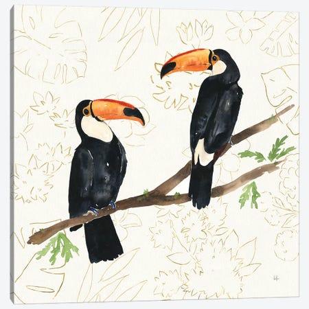 Tropical Fun Bird I Flower Background Canvas Print #SSM4} by Harriet Sussman Canvas Print