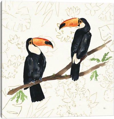 Tropical Fun Bird I Flower Background Canvas Art Print