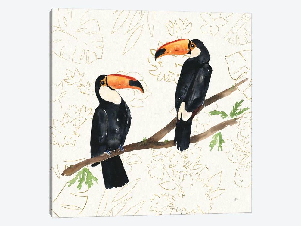 Tropical Fun Bird I Flower Background by Harriet Sussman 1-piece Art Print