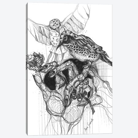 Black Bird And Graphics 3-Piece Canvas #SSR105} by Maria Susarenko Canvas Wall Art