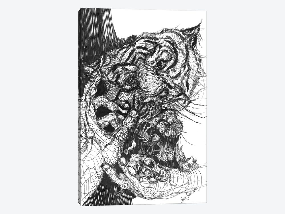 Tiger Drawing And Graphics by Maria Susarenko 1-piece Canvas Art