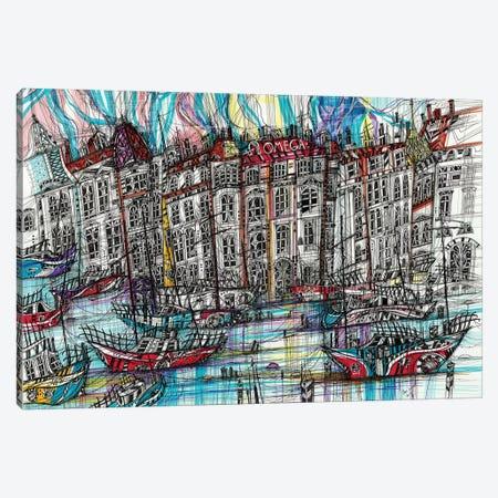 Geneva. Blue Boat Canvas Print #SSR121} by Maria Susarenko Art Print