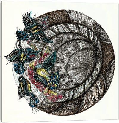Gothic Birds Tondo Canvas Art Print