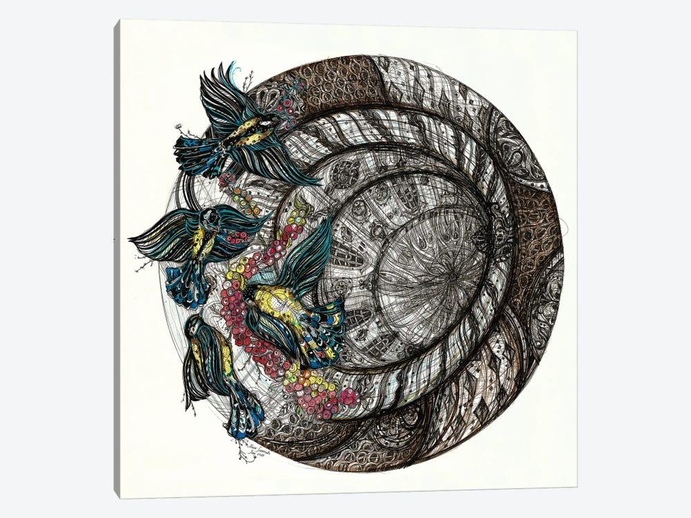 Gothic Birds Tondo by Maria Susarenko 1-piece Art Print