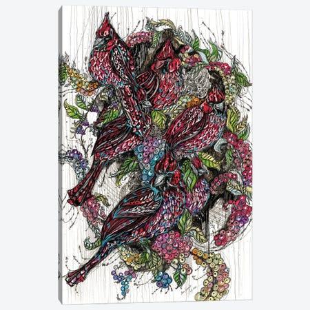 Northern Cardinals & Berries Canvas Print #SSR143} by Maria Susarenko Canvas Art Print