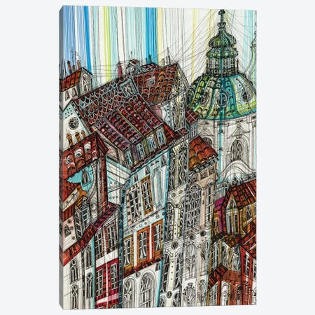 Prague Cityscape 3-Piece Canvas #SSR145} by Maria Susarenko Canvas Art